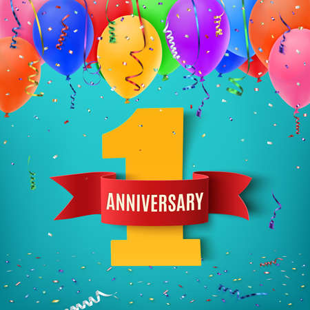 One year anniversary celebration background with red ribbon confetti and balloons. Anniversary ribbon. Anniversary party poster or brochure template. Anniversary banner. Vector illustration.