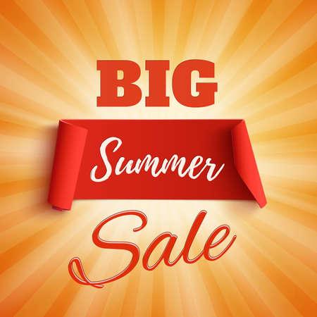 rays: Big summer sale poster on orange background with light rays. Big summer sale brochure. Big summer sale banner. Vector illustration. Illustration
