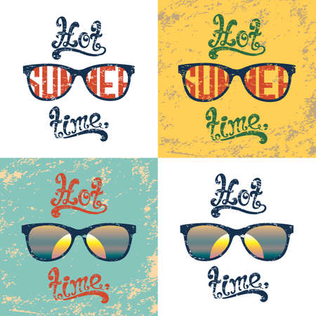 summer time: Hot summer time. Set of four calligraphic handwritten vintage, grunge, retro summer backgrounds with sunglasses. Typographic summer poster design. Hand lettering summer party templates.