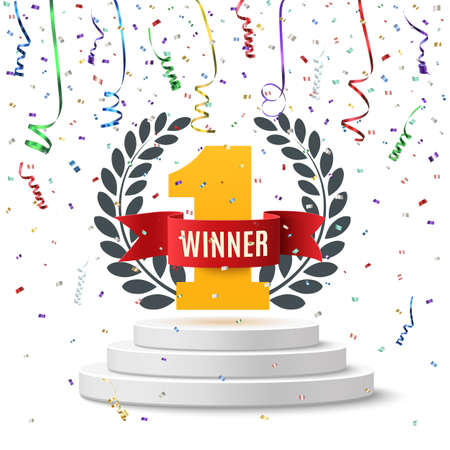 Winner, number one background with red ribbon, olive branch and confetti on round pedestal isolated on white. Poster or brochure template. illustration. Stock Illustratie
