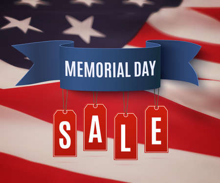 Big Memorial Day sale background template. Badge with blue ribbon and price tags, on top of American flag. illustration.
