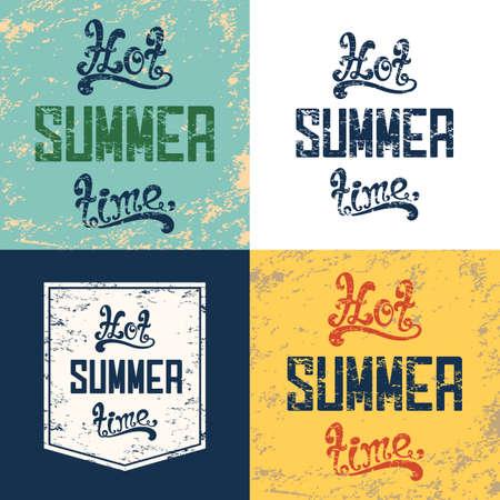 summer time: Set of four hot summer time backgrounds. Summer brochure Calligraphic vintage, grunge, retro, typographic design .Summer poster lettering. illustration.