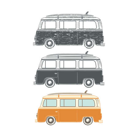 hollyday: Set of Retro vintage travel camper van, with surfing board, isolated on white background. Surf van. Classic van. illustration.