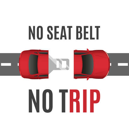 safety belt: Safety conceptual background with car, road and seat belt. Safety belt concept. Safe trip concept. illustration.