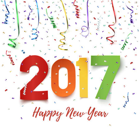 newyear card: Happy New Year 2017 celebration background. Happy New Year 2017 colorful paper typeface on background with ribbons and confetti on white. Happy New Year greeting card template. illustration.