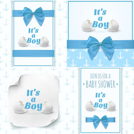 baby boy announcement: Set of four templates for baby boy shower celebration, or baby boy announcement card. Baby boy Greeting card blue ribbons and a bows. illustration