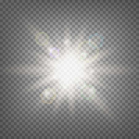 beam of light: Summer sun light effect on transparent background. Summer sun template. Hot summer sun illustration.