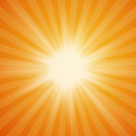 sol del verano estalló en el fondo de color naranja con rayos de luz. Fondo de verano. los rayos del sol de verano. ilustración. Ilustración de vector