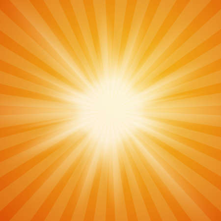 Sole estivo burst su sfondo arancione con raggi di luce. Estate sfondo. raggi del sole di estate. illustrazione.