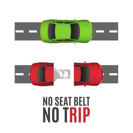 asiento: conceptual de fondo de seguridad con dos coches, por carretera y el cinturón de seguridad. ilustración.