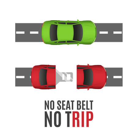 Safety conceptual background with two cars, road and seat belt. illustration.