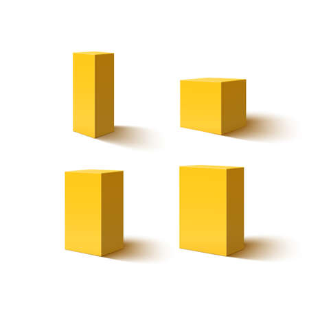 box design: Set of four 3d yellow blank boxes. Box icons for your projects. Box designs. illustration.