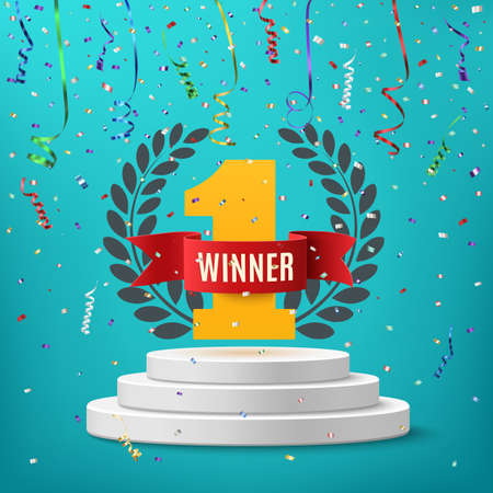 Winner, number one background with red ribbon, olive branch and confetti on round pedestal isolated on blue. Poster or brochure template. illustration.