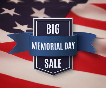 badge with ribbon: Big Memorial Day sale background template. Badge with blue ribbon on top of American flag. illustration. Illustration