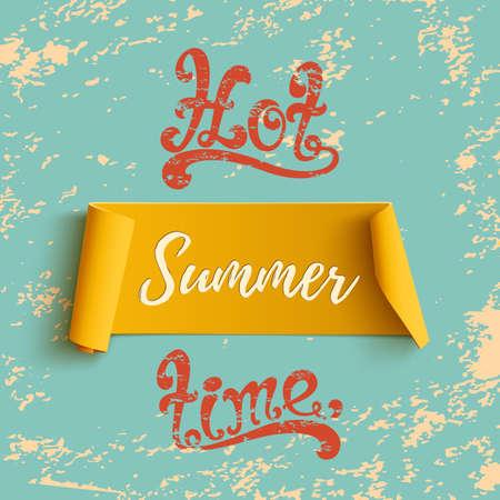 Bandiera curva gialla estate, su sfondo grunge blu. Tema di sfondo del partito estivo. illustrazione.