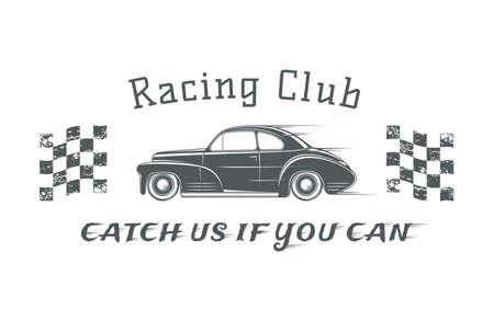 motor car: Vintage classic car label, racing club badge template. illustration. Illustration