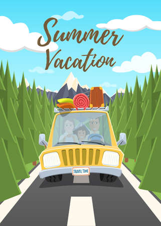 Summer vacation poster. Happy family traveling in the car. illustration.
