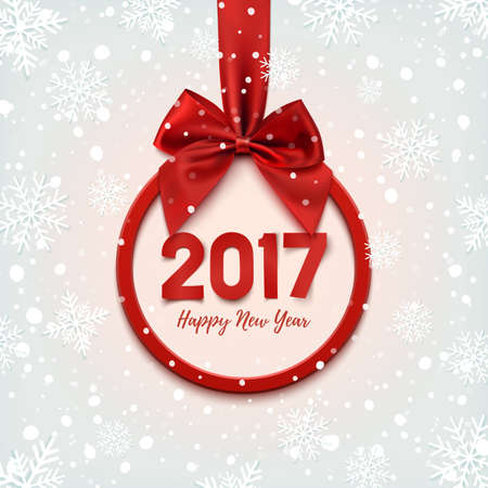 red ribbon bow: Happy New Year 2017 round banner with red ribbon and bow, on winter background with snow and snowflakes. Christmas tree decoration. Greeting card template. illustration.