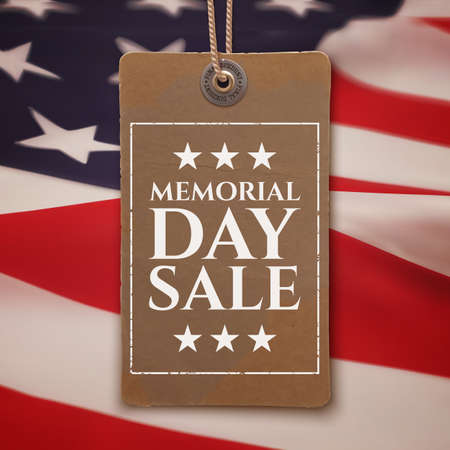 Memorial Day sale background. Vintage, realistic price tag on top of American flag.illustration