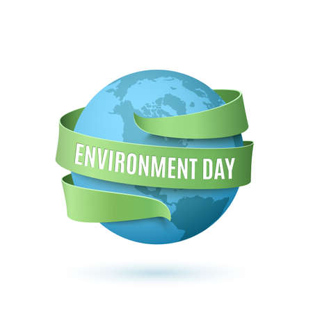 green environment: World Environment Day, background with blue globe and green ribbon around, isolated on white background. illustration. Stock Photo