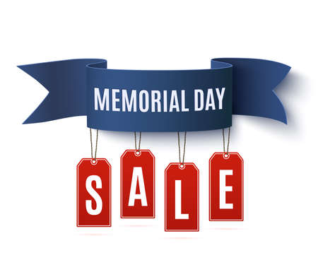Big Memorial Day sale background template. Badge with blue ribbon and price tags, isolated on white background. illustration.