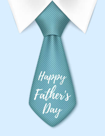 Happy Fathers Day, background with blue tie. Greeting card template. illustration. Çizim
