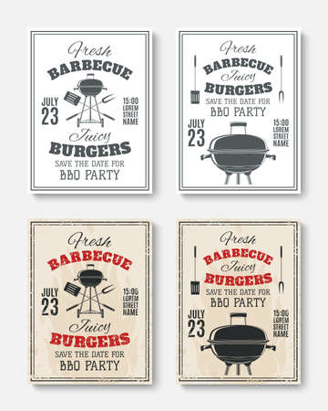 Set of four vintage barbecue party poster templates. Barbecue party brochures. Barbecue party invitation . illustration. Vectores