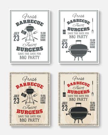 Ensemble de quatre barbecue cru modèles d'affiches du parti. brochures Barbecue party. invitation Barbecue party. illustration.