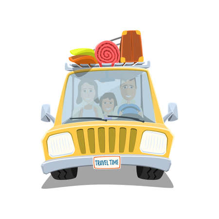 family vacation: Happy family traveling in the car. Family holiday. Family vacation. Vector illustration. Illustration