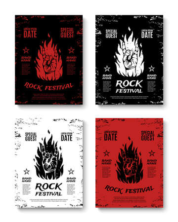 rockstar: Set of four grunge, rock festival posters, with rock n roll sign and fire. Rock concert flyers. Rock band brochures. Vector illustration.