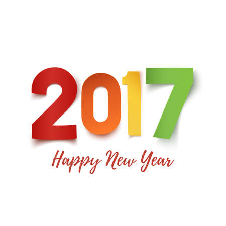 date night: Happy New Year 2017. Colorful paper typeface isolated on white. Happy New year 2017 background. Happy New Year 2017 greeting card template. Vector illustration.