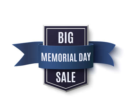 national hero: Big Memorial Day sale background template. Badge with blue ribbon isolated on white. Vector illustration.