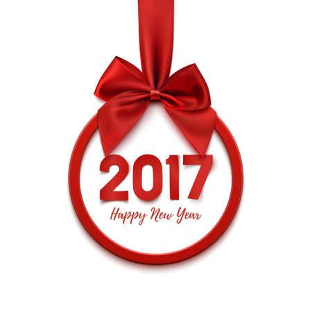 Felice Anno Nuovo 2017 banner rotondo con il nastro rosso e fiocco, su sfondo bianco. Felice decorazione dell'albero di nuovo anno di Natale. Felice Anno Nuovo 2017 modello della cartolina d'auguri. Illustrazione vettoriale. Vettoriali