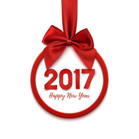 red bow: Happy New Year 2017 round banner with red ribbon and bow, on white background. Happy New Year Christmas tree decoration. Happy New Year 2017 Greeting card template. Vector illustration.