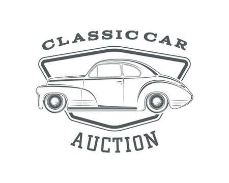 Vintage, classic car label, car auction badge template. Vintage car auction. Classic second hand car sale. Vector illustration. Illustration