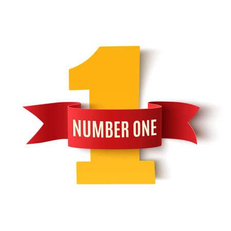 Nummer een achtergrond op wit. Nummer een lint. Nummer één poster of brochure sjabloon. vector illustratie