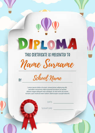 Diploma template for kids certificate background. Vector illustration.