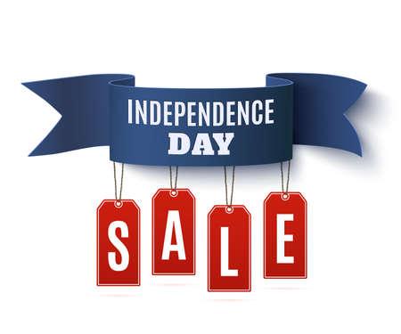 Independence Day, 4 juli verkoop achtergrond sjabloon. Badge met blauw lint en prijskaartjes, geïsoleerd op een witte achtergrond. Vector illustratie.