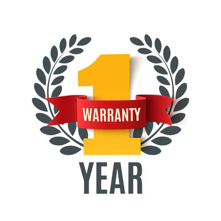 best service: One Year Warranty background with red ribbon and olive branch on white. Poster, label, badge or brochure template. Vector illustration.
