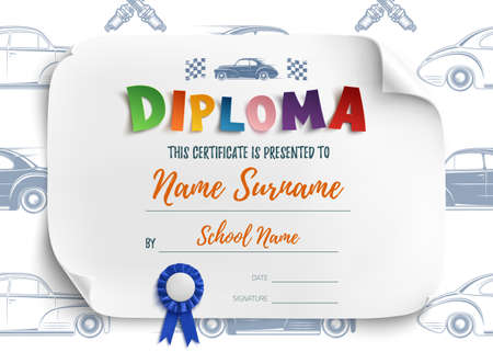 playschool: Diploma template for kids, certificate background with racing cars for school, preschool or playschool. Vector illustration. Illustration