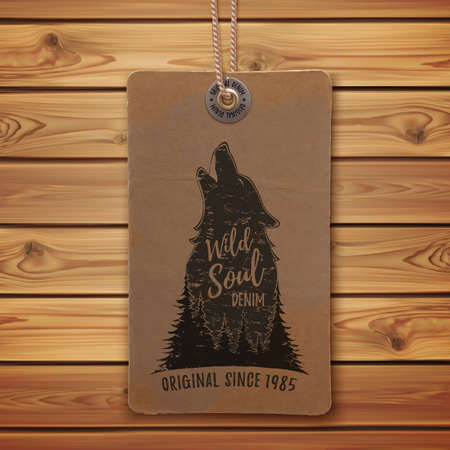 clothing label: Howling wolf in the forest. template on realistic, vintage price tag, clothing label and wooden planks. Vector illustration.
