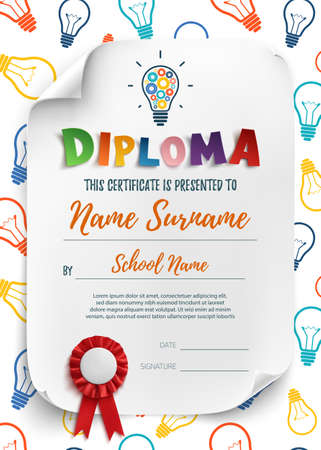 playschool: Diploma template for kids, school, preschool, playschool, certificate background wit colorful light bulbs.