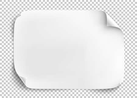 White sheet of paper on transparent background. Vettoriali