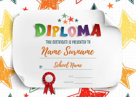Diploma template for kids, certificate background with hand drawn colorful stars for school, preschool or playschool. Illustration