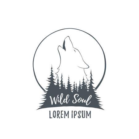 Conjunto De Cuatro Lobo Aullando En La Luna En El Bosque Plantillas