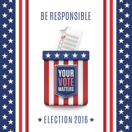 voter: American Election 2016 background with Ballot box and Voter Registration Application form.