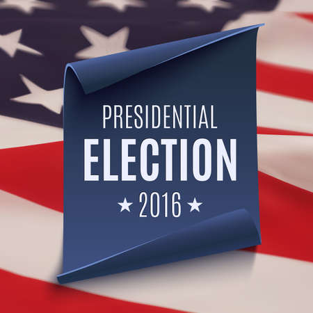 voter registration: Presidential Election 2016 background on blue curved paper banner on top of american flag. Poster, brochure or flyer template. Illustration