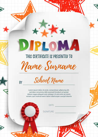 Diploma template for kids, certificate background with hand drawn stars for school, preschool or playschool.