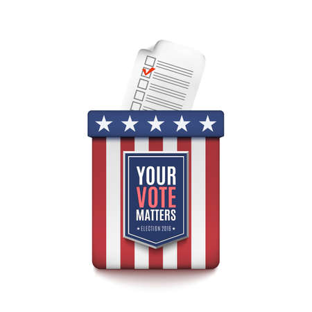 voter: Election ballot box with Voter Registration Application form isolated on white background. Illustration