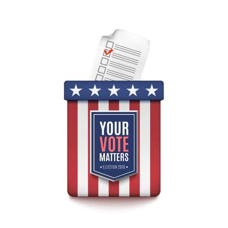 Wahlurne mit dem Wähler-Registrierungs-Antragsformular lokalisiert auf weißem Hintergrund. Vektorgrafik